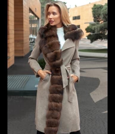 Пальто кашемировое с мехом песца Nora