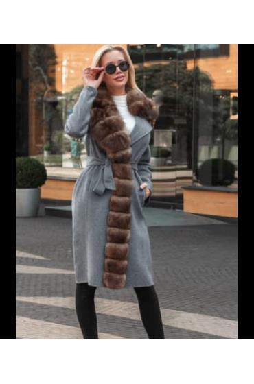 Пальто кашемировое с мехом песца Zlata