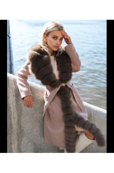 Пальто кашемировое с мехом песца Sandra