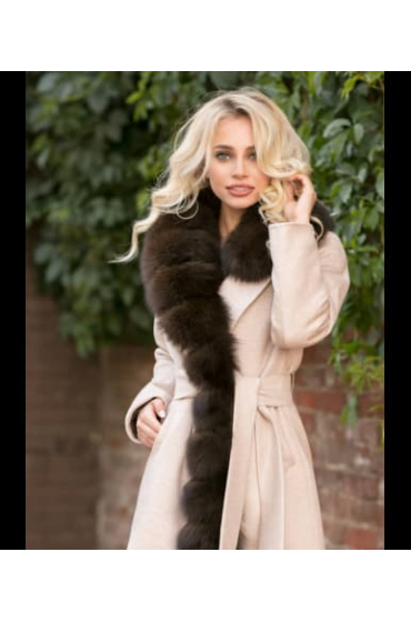 Пальто кашемировое с мехом песца Liza